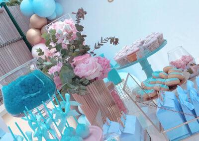 Decoration Gender Reveal bleu et rose